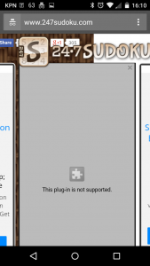 Sudoku site showing plugin not supported