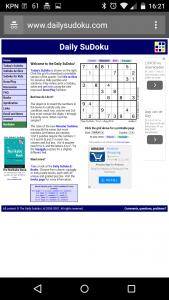 Sudoku site met layout die niet geschikt is voor een mobieltje