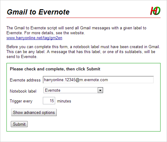 Web interface Gmail to Evernote