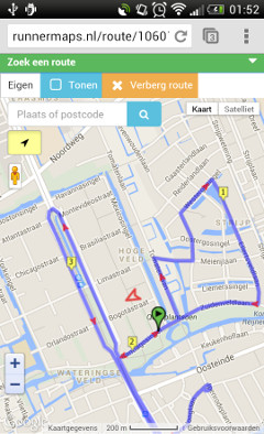 Screenshot of RunnerMaps.nl on mobile